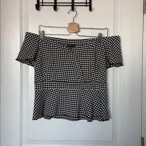 Dynamite Gingham Off the Shoulder Peplum Top